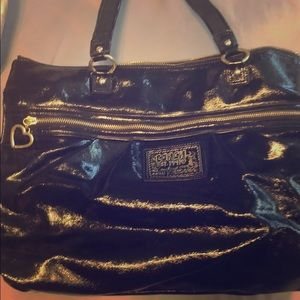Coach glossy black tote bag